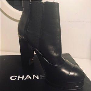 Chanel Black Leather Platform Ankle Boots